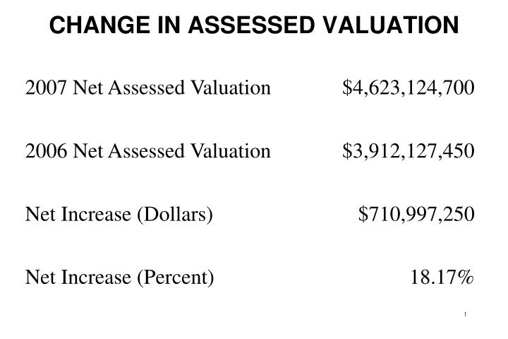 change in assessed valuation n.