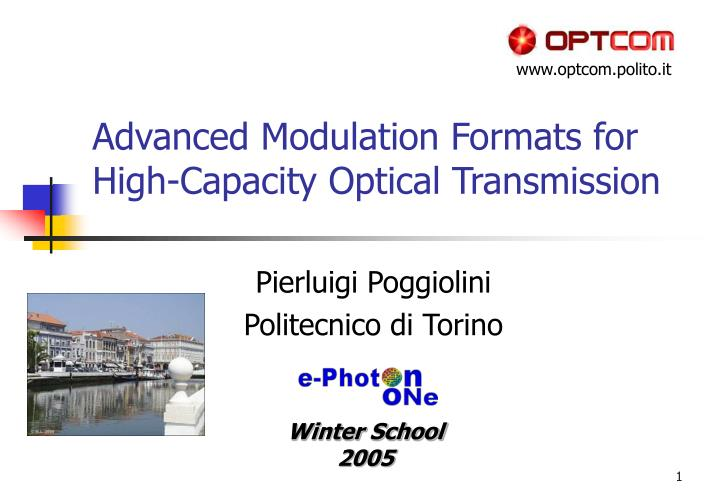 advanced modulation formats for high capacity optical transmission n.