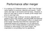 performance after merger