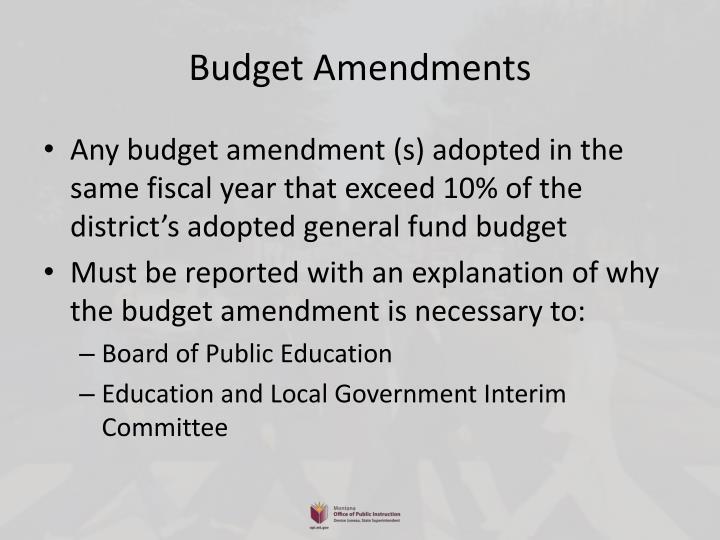 Budget Amendments
