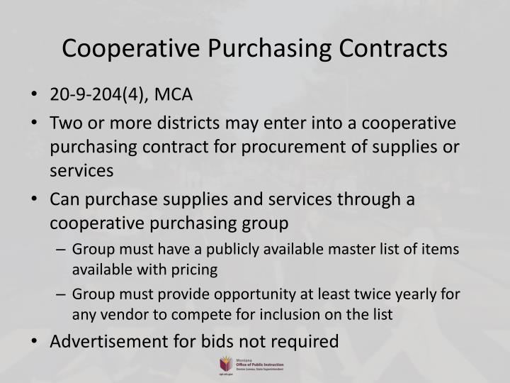 Cooperative Purchasing Contracts