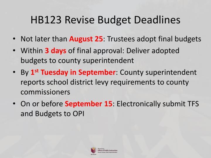 HB123 Revise Budget Deadlines