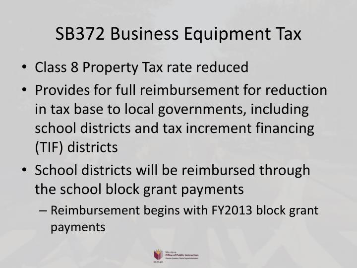 SB372 Business Equipment Tax