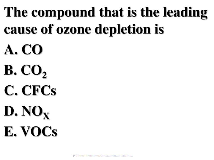 The compound that is the leading cause of ozone depletion is