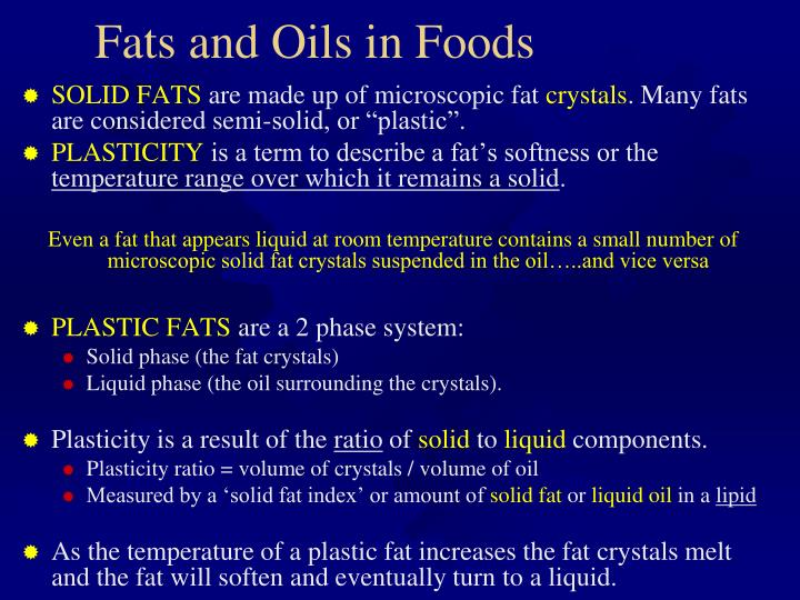 Fats and Oils in Foods