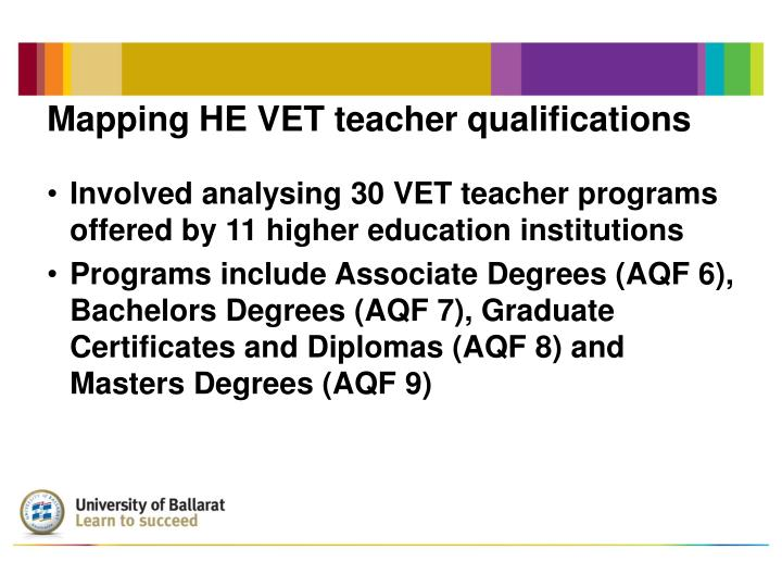 Mapping he vet teacher qualifications