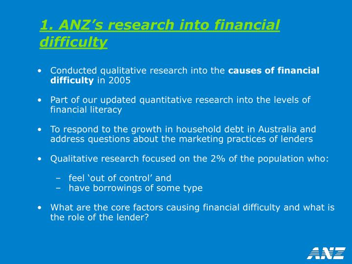 1. ANZ's research into financial difficulty
