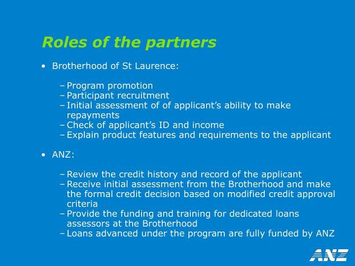 Roles of the partners
