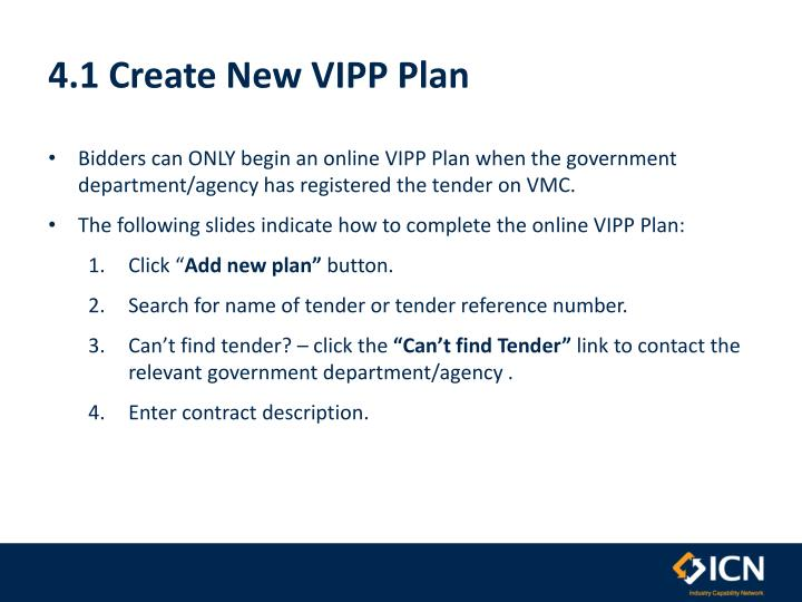 4.1 Create New VIPP Plan