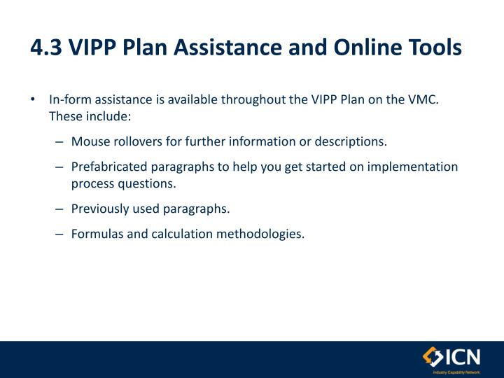 4.3 VIPP Plan Assistance and Online Tools