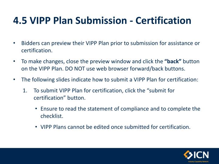 4.5 VIPP Plan Submission - Certification