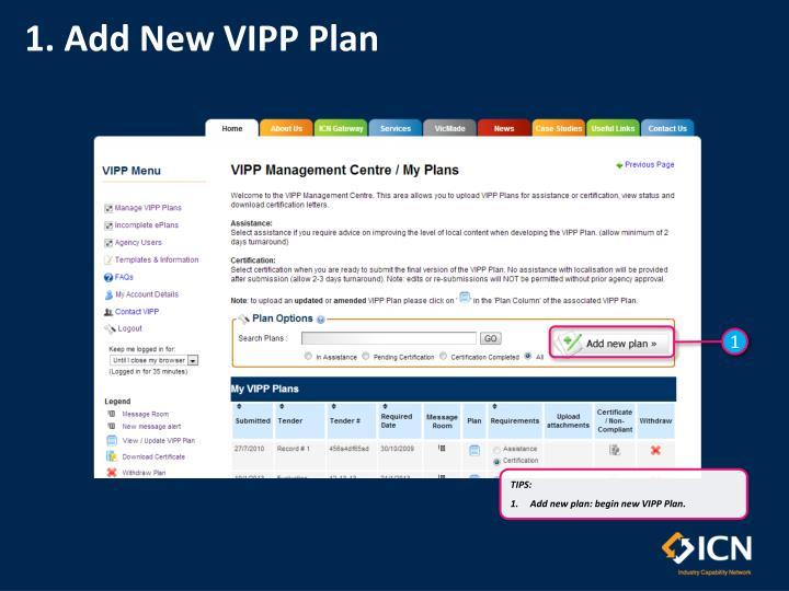 1. Add New VIPP Plan