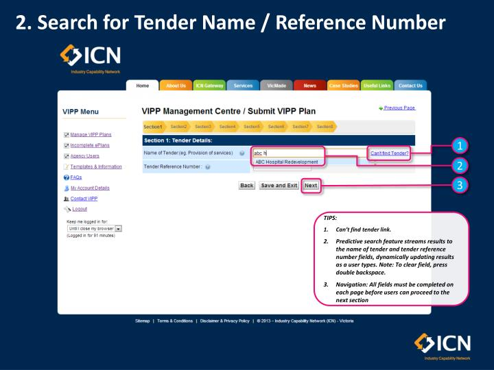 2. Search for Tender Name / Reference Number