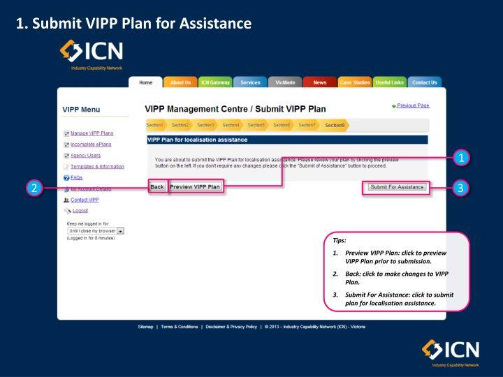 1. Submit VIPP Plan for Assistance