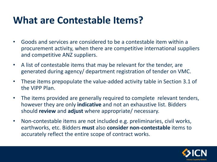 What are Contestable Items?