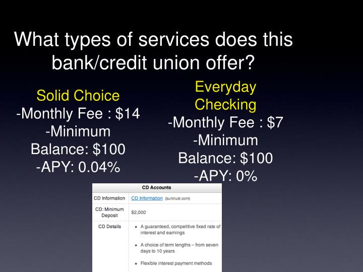 What types of services does this bank/credit union offer?