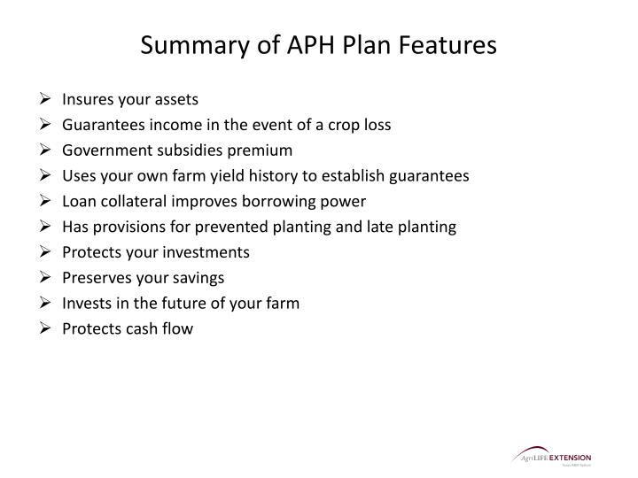 Summary of APH Plan Features