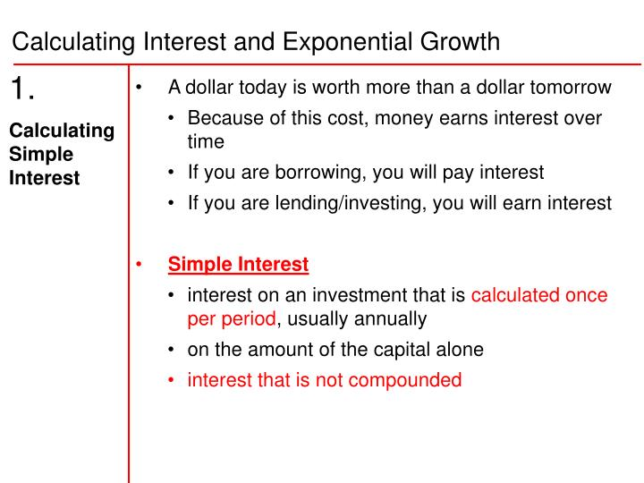 PPT - 1. Calculating Simple Interest PowerPoint Presentation, free download  - ID:3256315