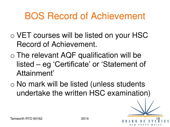 BOS Record of Achievement