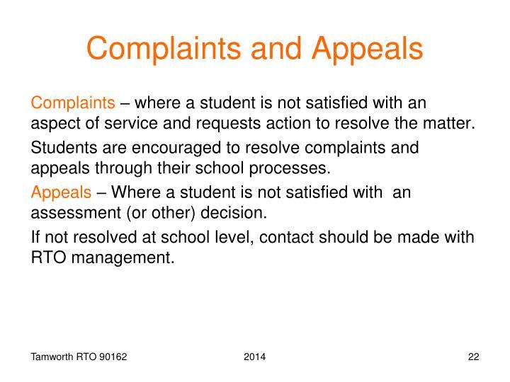 Complaints and Appeals