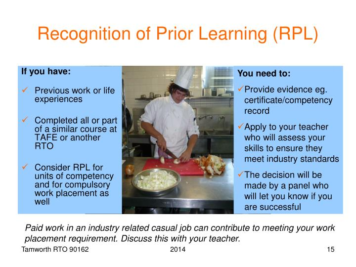 Recognition of Prior Learning (RPL)