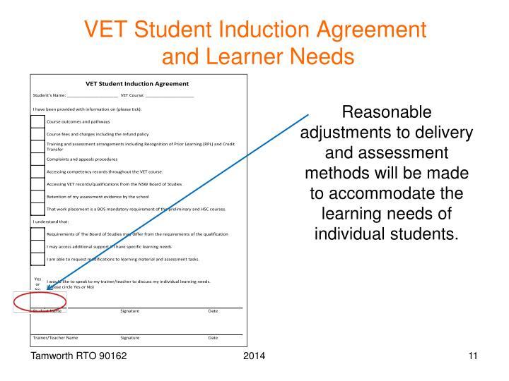 VET Student Induction Agreement