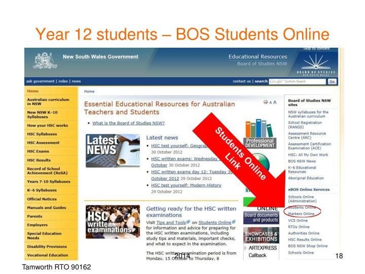Year 12 students – BOS Students Online