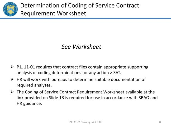 Determination of Coding of Service Contract Requirement Worksheet