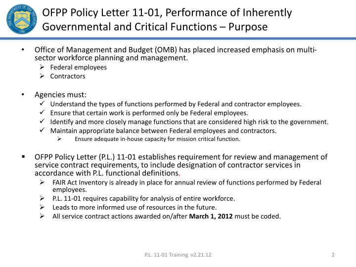 Ofpp policy letter 11 01 performance of inherently governmental and critical functions purpose
