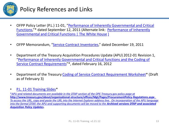 Policy References and Links
