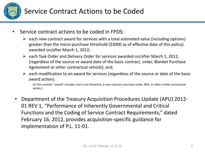 Service Contract Actions to be Coded