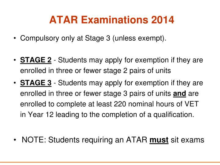 ATAR Examinations 2014