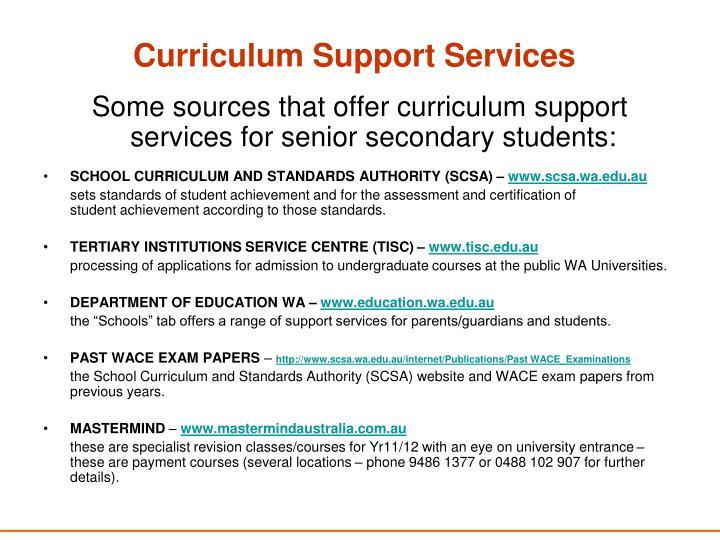 Curriculum Support Services