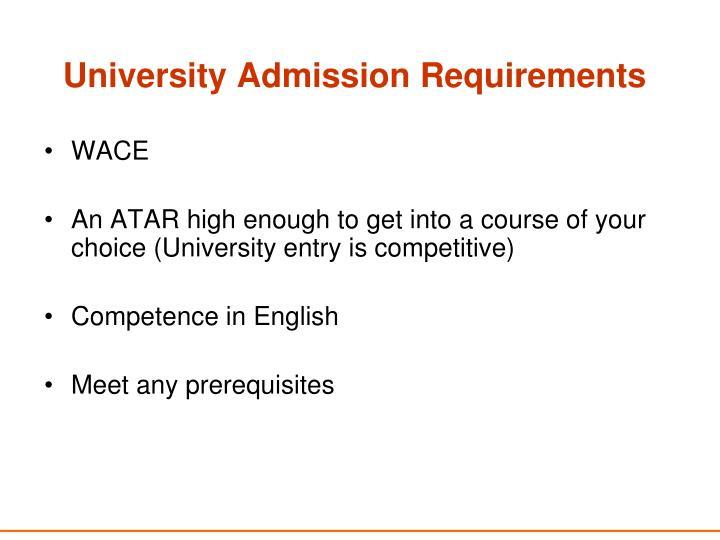 University Admission Requirements