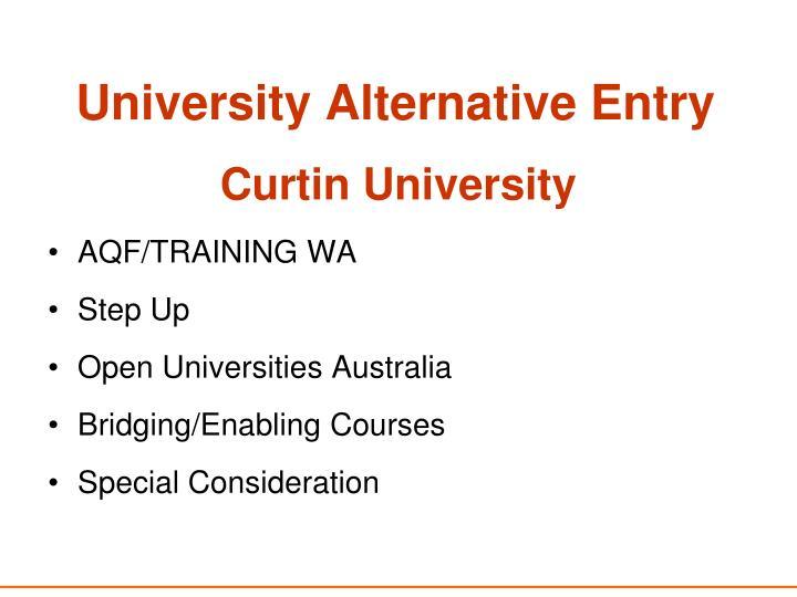 University Alternative Entry
