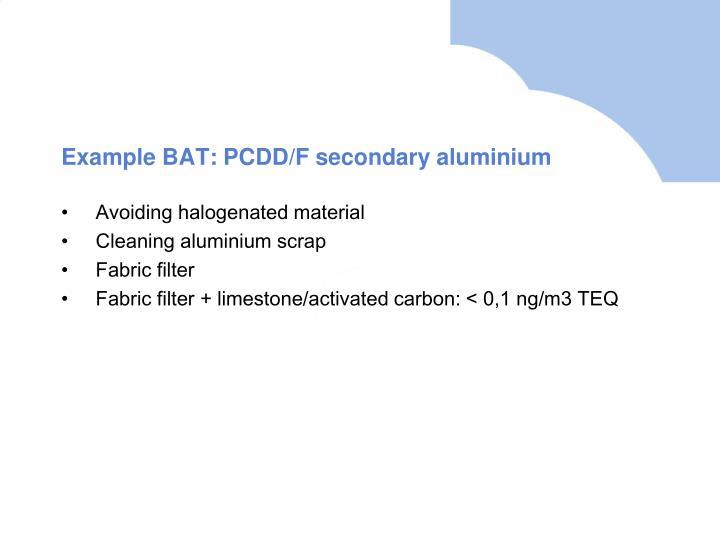 Example BAT: PCDD/F secondary aluminium