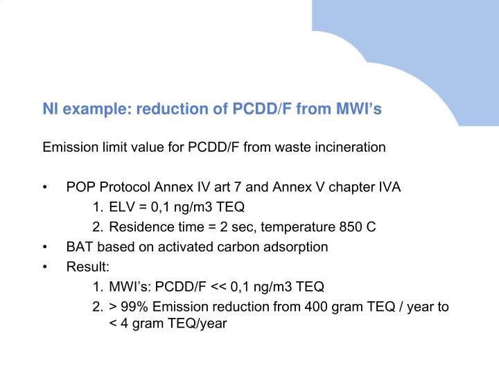 Nl example: reduction of PCDD/F from MWI's