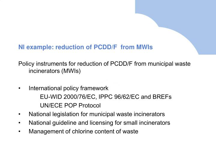 Nl example: reduction of PCDD/F  from MWIs