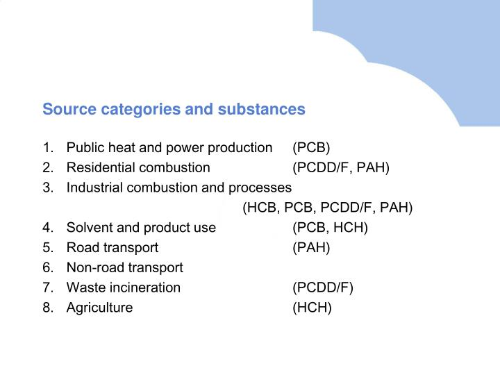 Source categories and substances