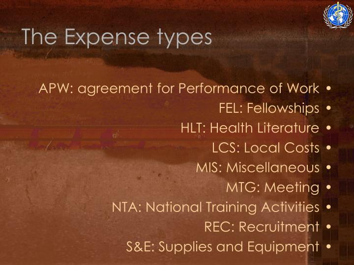 The Expense types