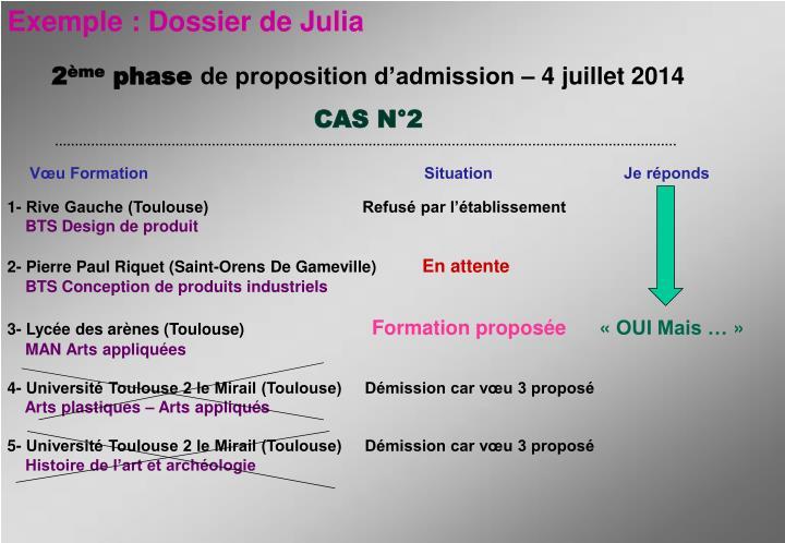 Exemple : Dossier de Julia