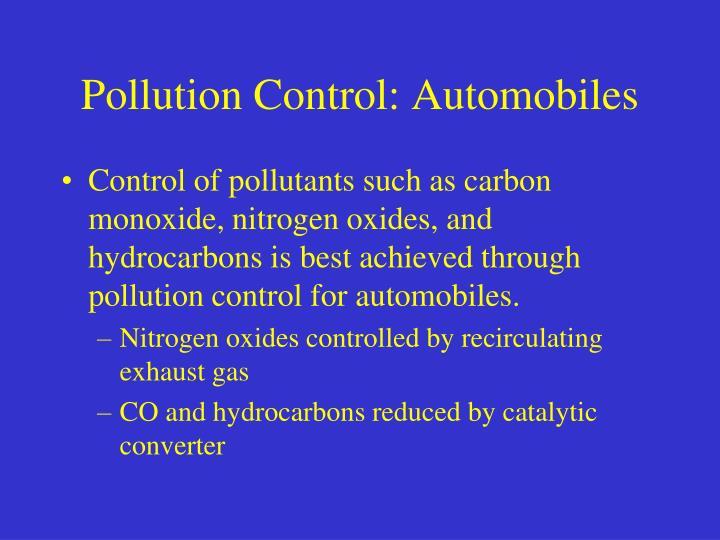 Pollution Control: Automobiles