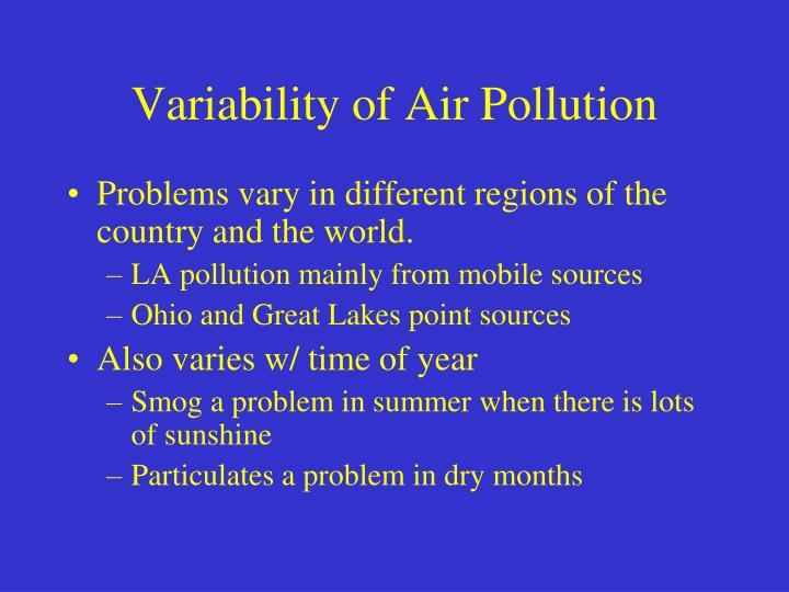 Variability of Air Pollution