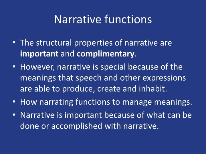 Narrative functions