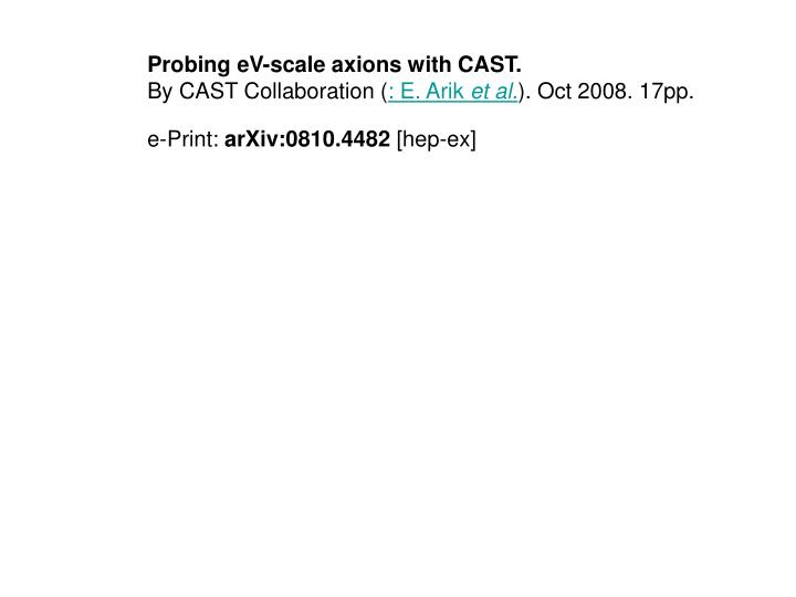 Probing eV-scale axions with CAST.