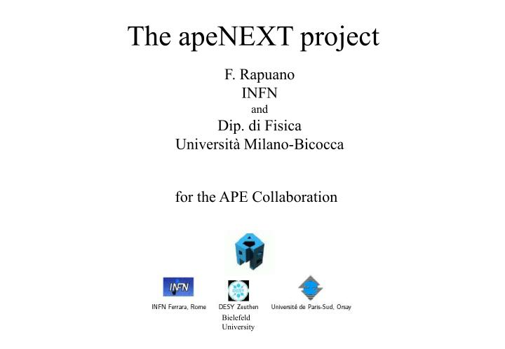The apenext project