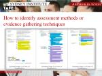 how to identify assessment methods or evidence gathering techniques