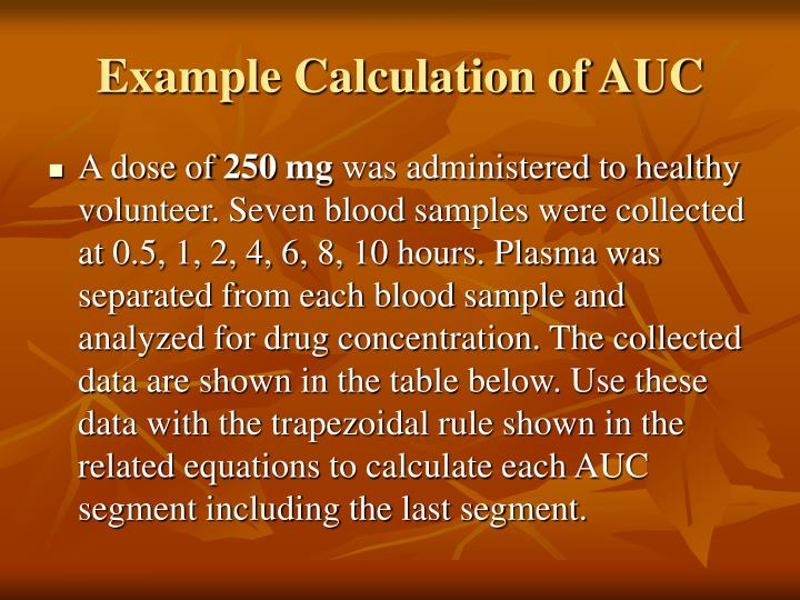 Example Calculation of AUC