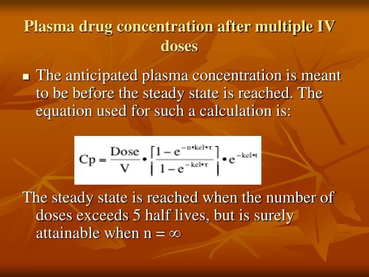 Plasma drug concentration after multiple IV doses