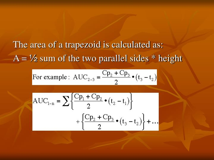 The area of a trapezoid is calculated as: